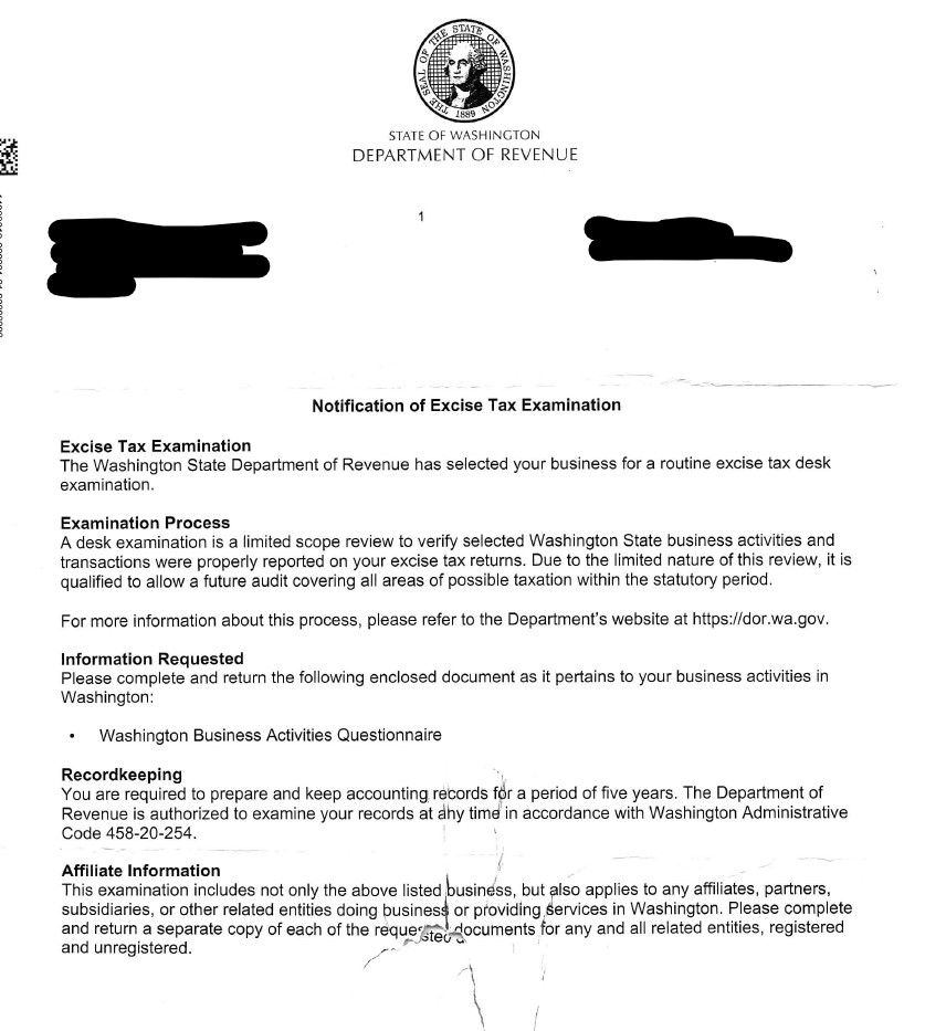 us sales tax ecommerce letter from washington department of revenue
